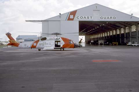 Helicopter in front of hangar at Air Station Elizabeth City