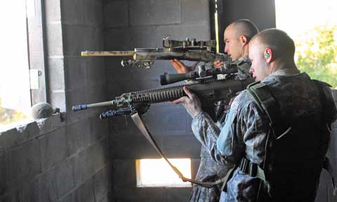 Soldiers practice at Fort Buchanan