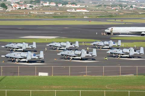 Many planes at Lajes Field