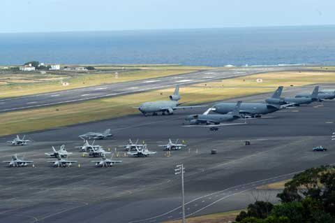 Areal view of Lajes Field