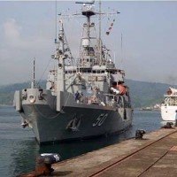 Ship parked at Commander, Logistics Group Western Pacific shipyard